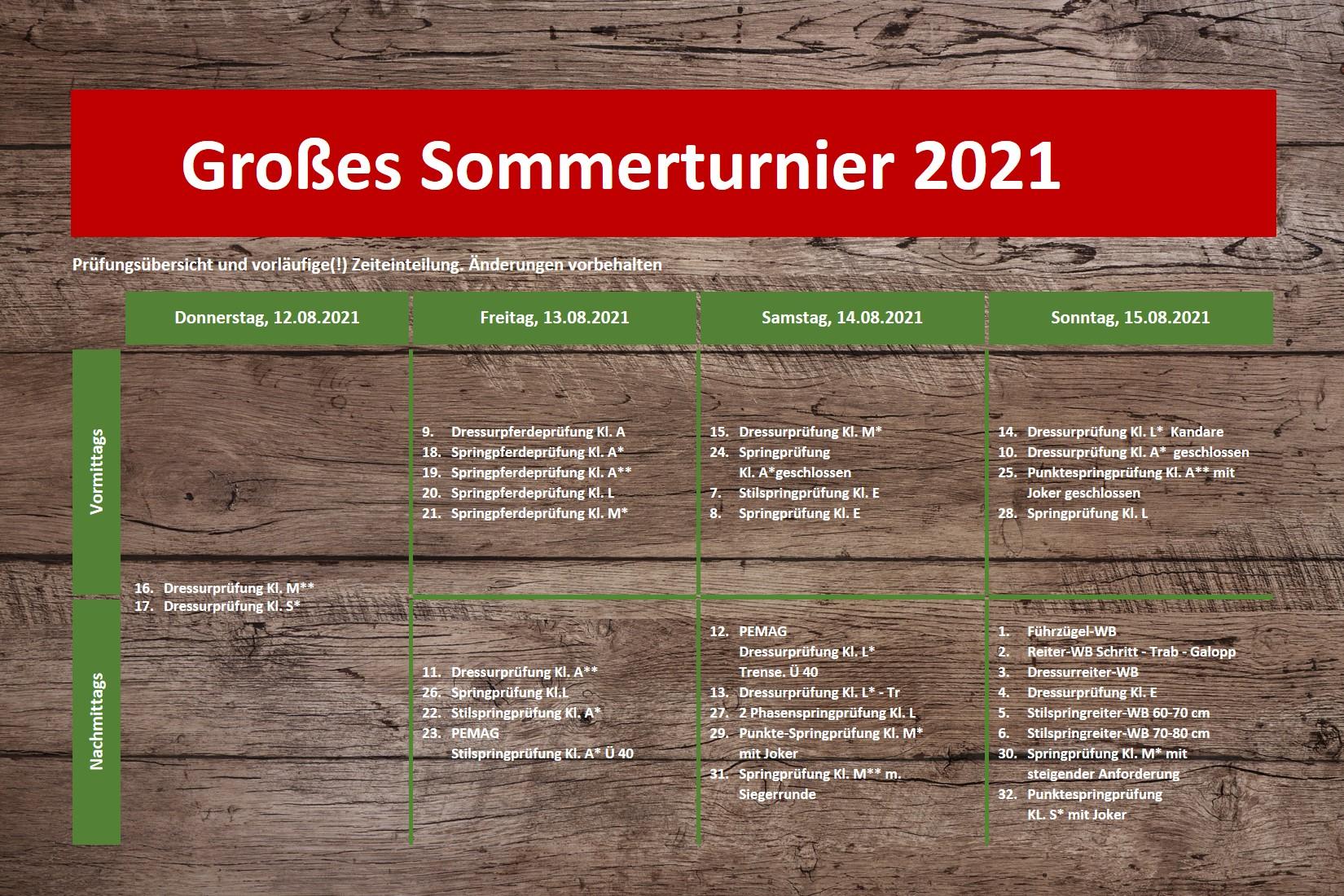 Sommerturnier 2021 Zeiteinteilung
